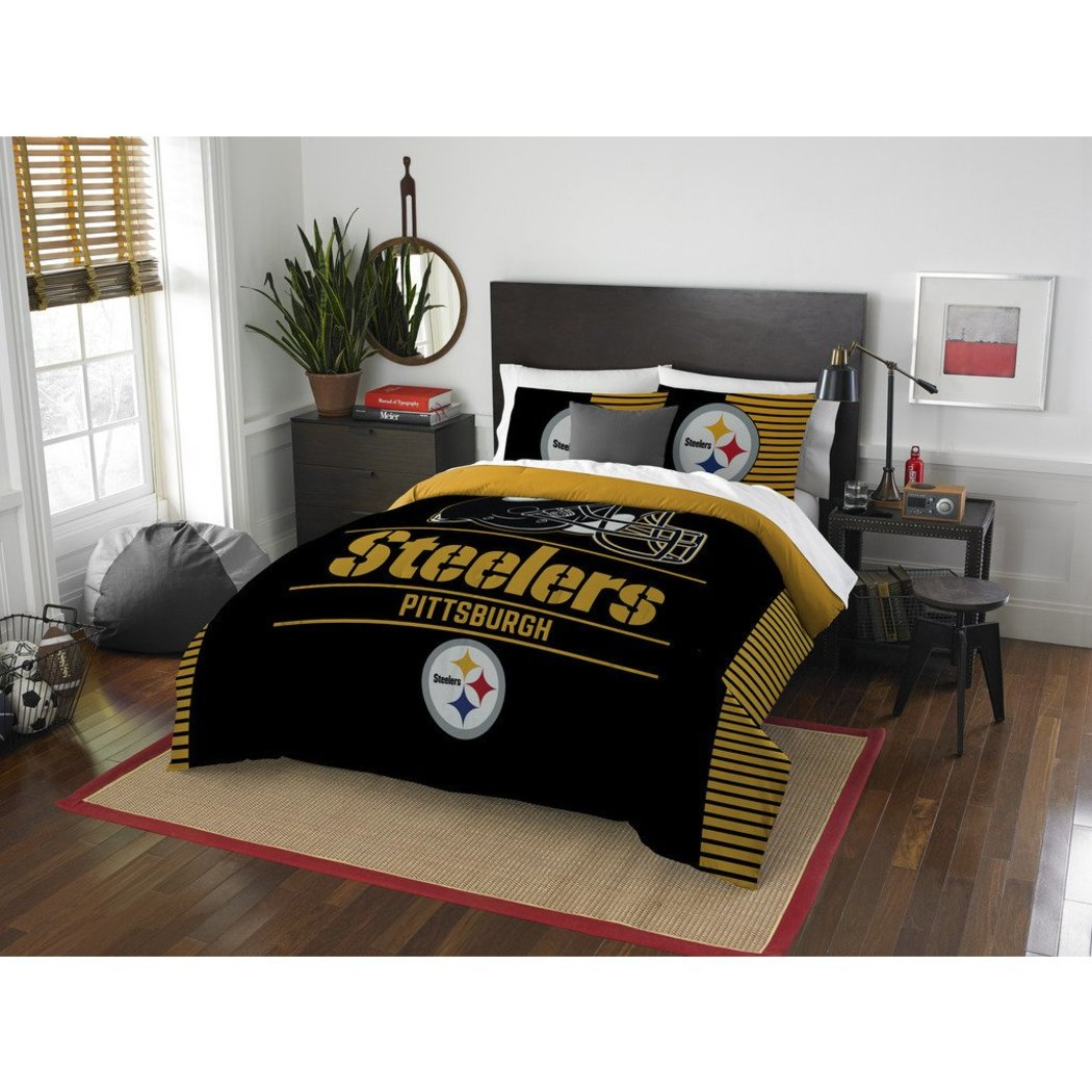 NFL Pittsburgh Steelers Comforter Full Queen Set Sports Patterned Bedding Team Logo Fan Merchandise Team Spirit Football Themed National Football - Diamond Home USA