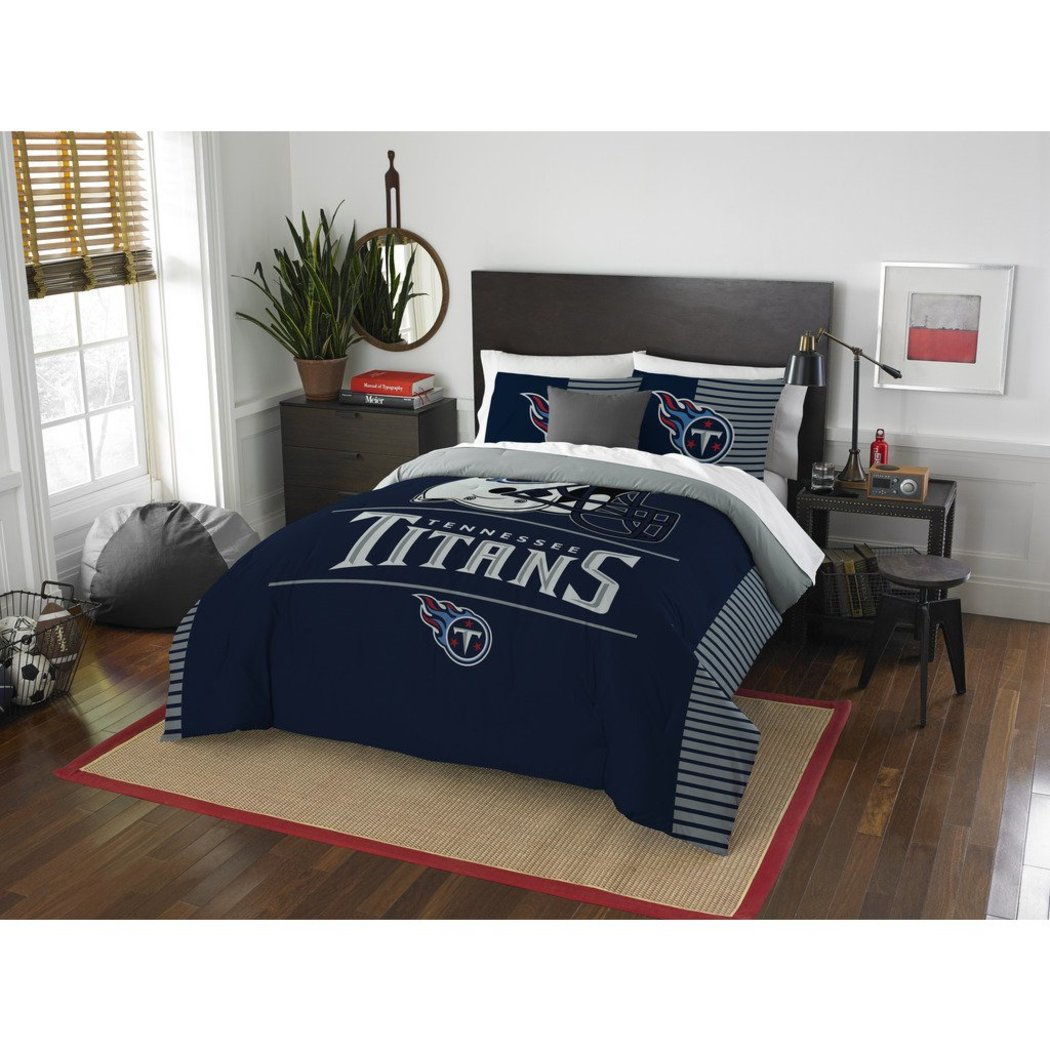 NFL Tennessee Titans Comforter Full Queen Set Sports Patterned Bedding Team Logo Fan Merchandise Team Spirit Football Themed National Football League - Diamond Home USA