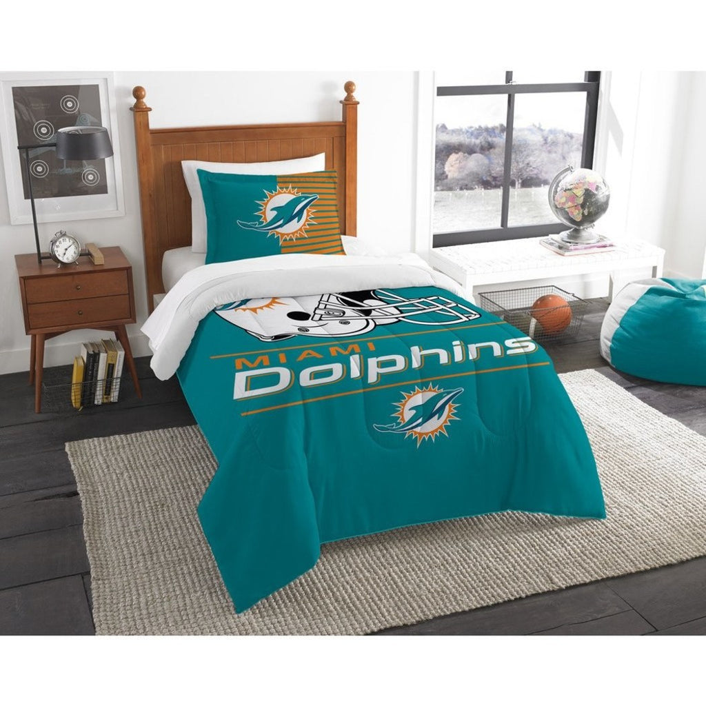 NFL Miami Dolphins Comforter Twin Set Sports Patterned Bedding Team Logo Fan Merchandise Team Spirit Football Themed National Football League Blue - Diamond Home USA