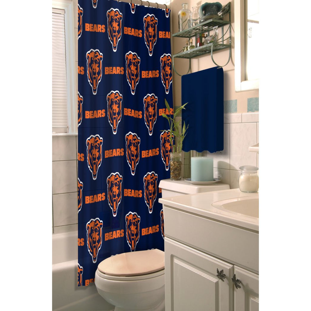 Navy Blue Orange NFL Chicago Bears Football Sports Themed Shower Curtain Polyester Detailed Sports Pattern Modern Elegant Design Official Colorful - Diamond Home USA
