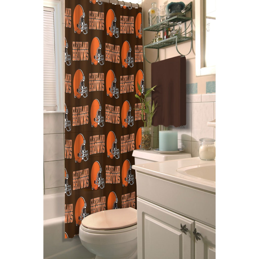 Brown Orange NFL Cleveland Browns Football Sports Themed Shower Curtain Polyester Detailed Sports Pattern Modern Elegant Design Official Colorful Team - Diamond Home USA