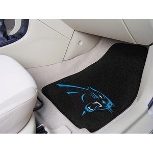 "Carolina Panthers 2-pc Carpeted Car Mats 17""x27"" Non Skid Backing - Diamond Home USA"