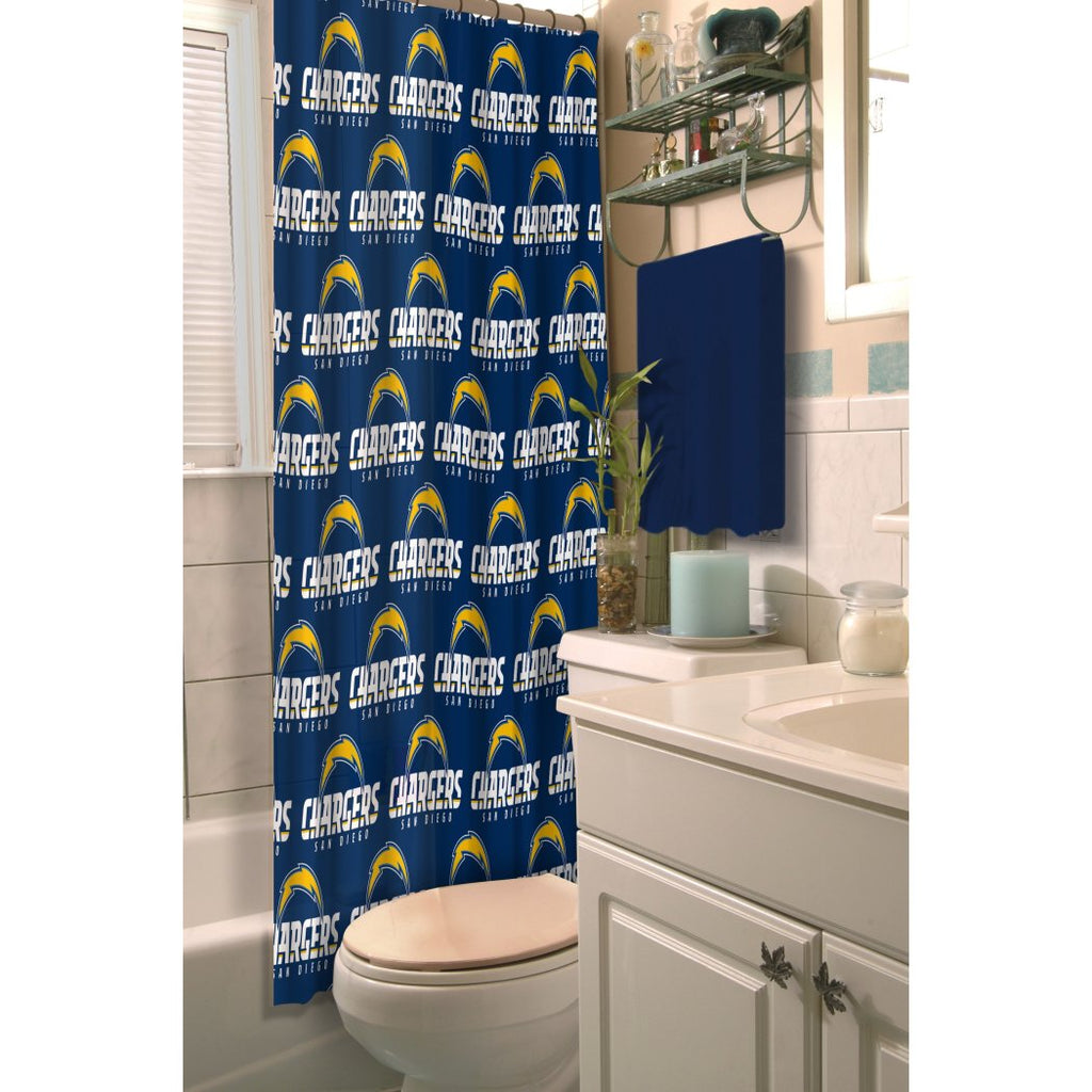 Navy Blue NFL San Diego Chargers Football Sports Themed Shower Curtain Polyester Detailed Sports Pattern Modern Elegant Design Official Colorful Team - Diamond Home USA