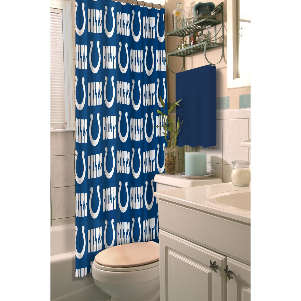 Blue White NFL Indianapolis Colts Football Sports Themed Shower Curtain Polyester Detailed Sports Pattern Modern Elegant Design Official Colorful Team - Diamond Home USA