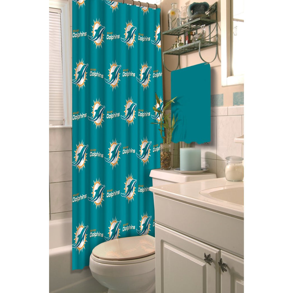 Aqua Blue NFL Miami Dolphins Football Sports Themed Shower Curtain Polyester Detailed Sports Pattern Modern Elegant Design Official Colorful Team Logo - Diamond Home USA