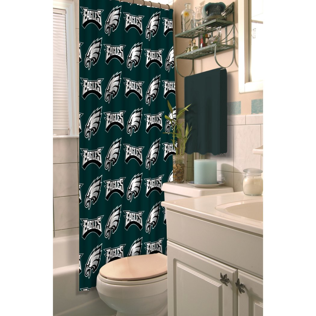 Green NFL Philadelphia Eagles Football Sports Themed Shower Curtain Polyester Detailed Sports Pattern Modern Elegant Design Official Colorful Team - Diamond Home USA