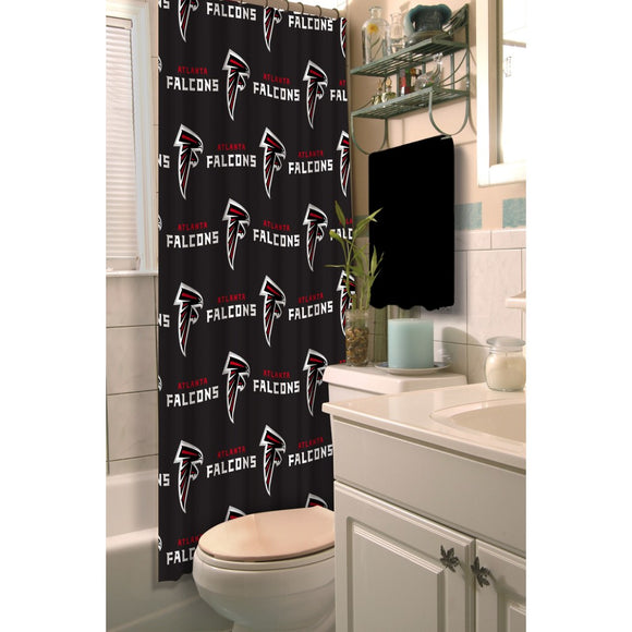Red Grey NFL Atlanta Falcons Football Sports Themed Shower Curtain Polyester Detailed Sports Pattern Modern Elegant Design Official Colorful Team Logo - Diamond Home USA