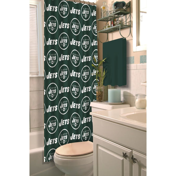 Green White NFL New York Jets Football Sports Themed Shower Curtain Polyester Detailed Sports Pattern Modern Elegant Design Official Colorful Team - Diamond Home USA