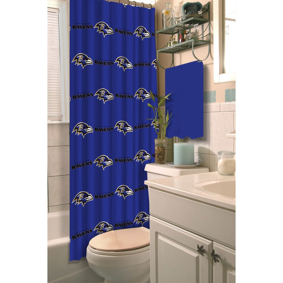 Deep Blue NFL Baltimore Ravens Football Sports Themed Shower Curtain Polyester Detailed Sports Pattern Modern Elegant Design Official Colorful Team - Diamond Home USA