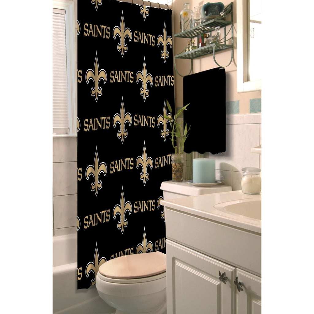 Golden Black NFL New Orleans Saints Football Sport Themed Shower Curtain Polyester Detailed Sports Pattern Modern Elegant Design Official Colorful - Diamond Home USA