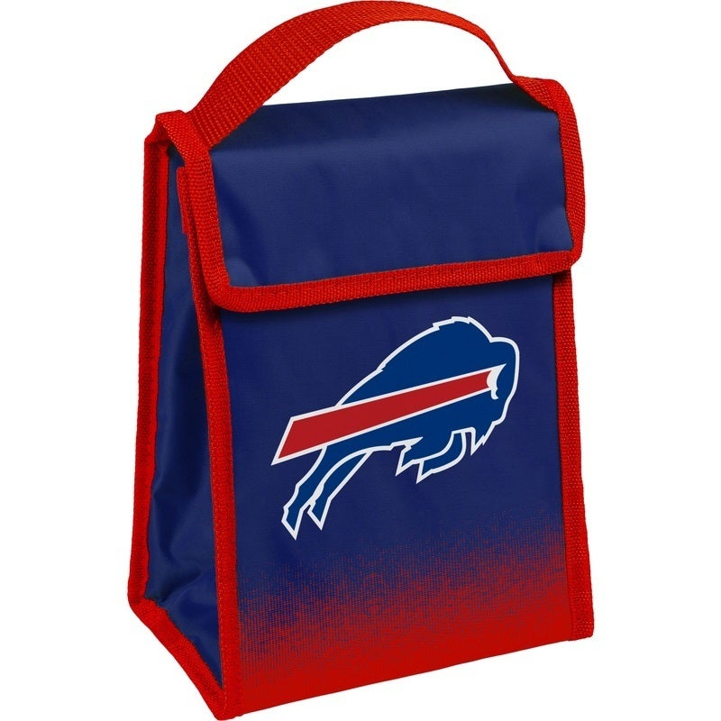 Team Logo Gradient Insulated Velcro Lunch Bag Buffalo Bills Blue Red Sports Polyester Flapover Foldable - Diamond Home USA