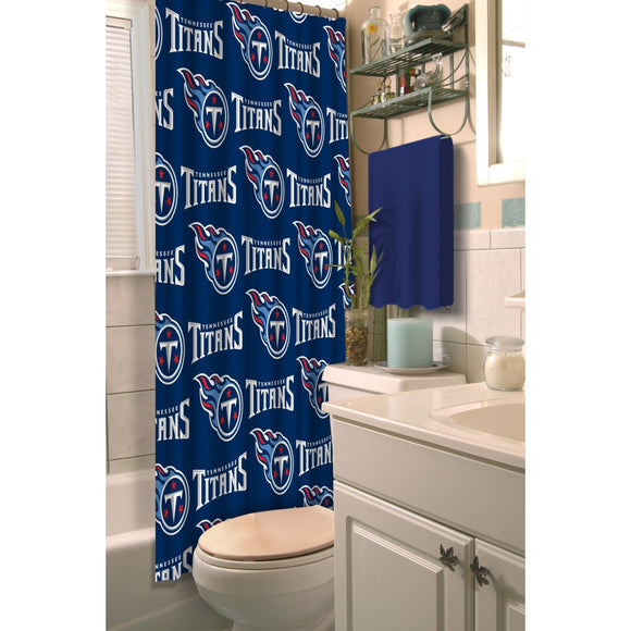 Navy Blue NFL Tennessee Titans Football Sports Themed Shower Curtain Polyester Detailed Sports Pattern Modern Elegant Design Official Colorful Team - Diamond Home USA