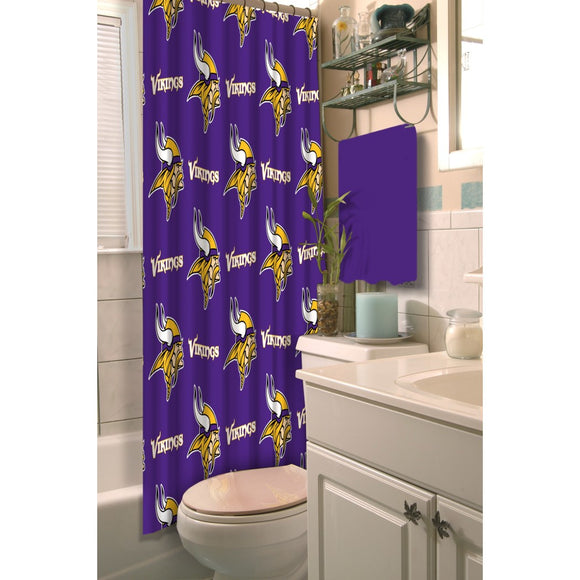 Purple NFL Minnesota Vikings Football Sports Themed Shower Curtain Polyester Detailed Sports Pattern Modern Elegant Design Official Colorful Team Logo - Diamond Home USA