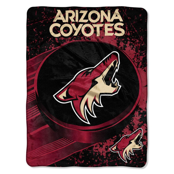NHL Arizona Coyotes Throw Blanket 46x60 Brick Red Desert Sand Black White Ice Dash Micro Sports Hockey Stacked Colored Polyester Soft Touch Team Logo - Diamond Home USA