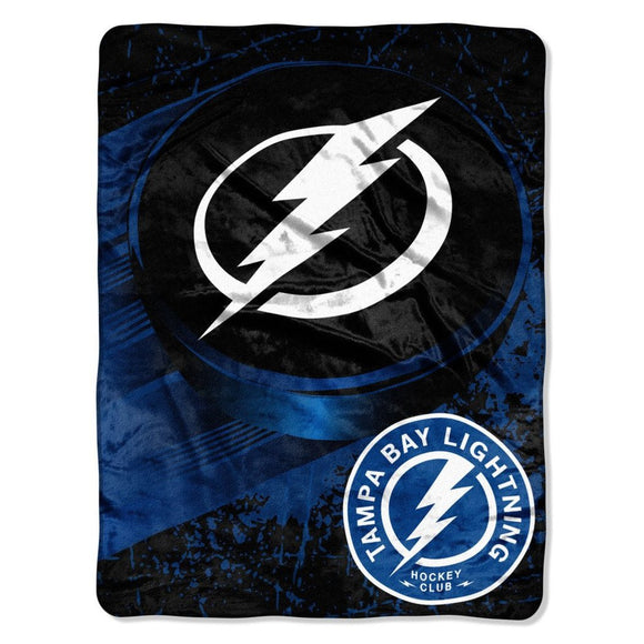 NHL Tampa Bay Lightning Throw Blanket 46x60 Blue White Black Ice Dash Micro Sports Hockey Stacked Colored Polyester Soft Touch Team Logo Perfect - Diamond Home USA