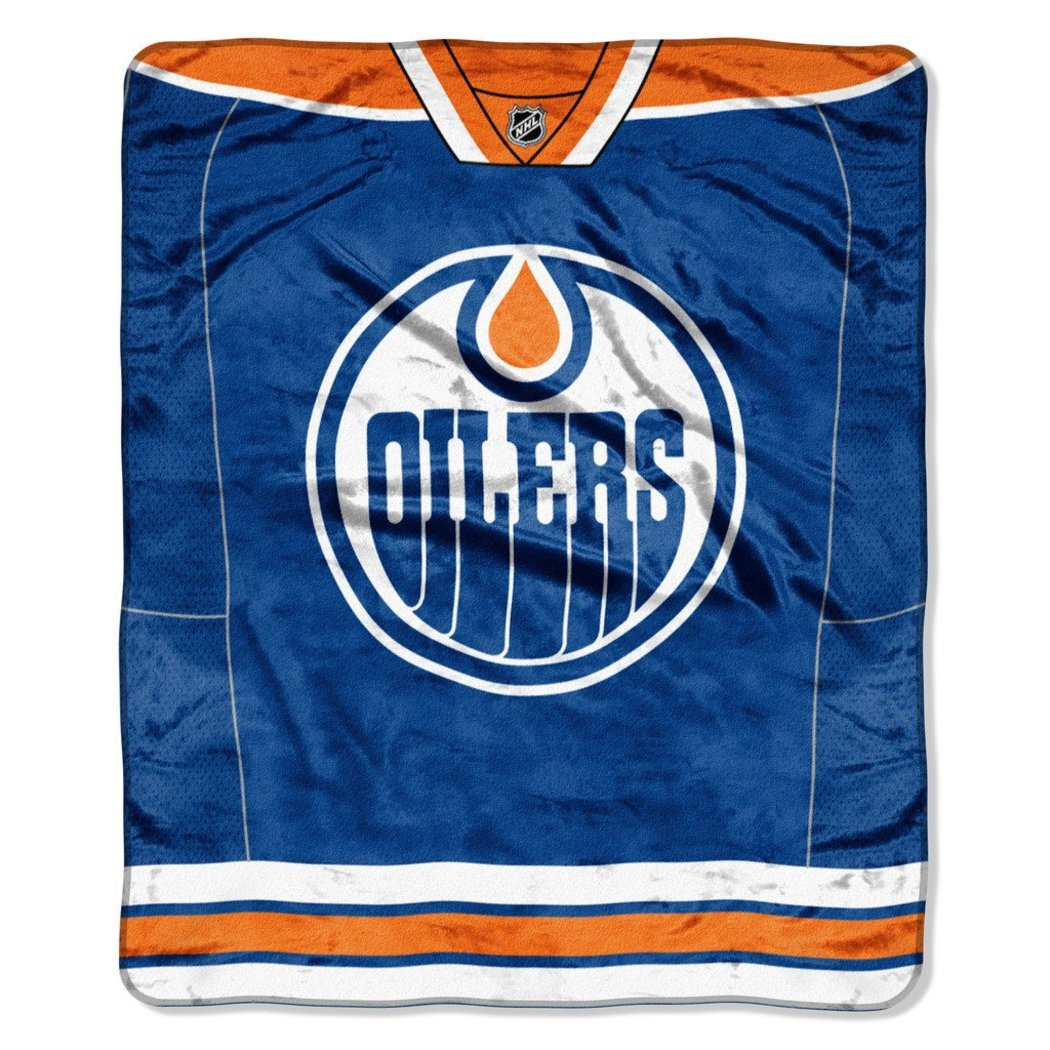 NHL Edmonton Oilers Throw Blanket 50x60 Blue Orange White Jersey Raschel Sports Hockey Stacked Colored Polyester Soft Touch Team Logo Perfect Living - Diamond Home USA