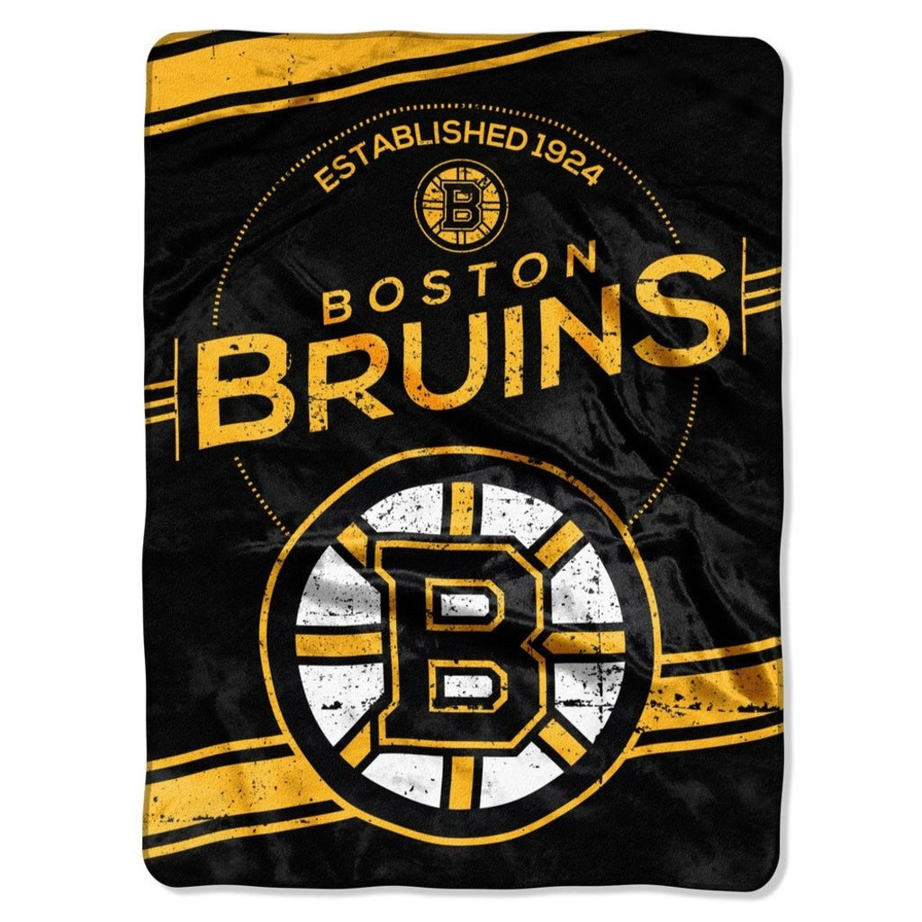 NHL Boston Bruins Throw Blanket 60x80 Black Gold Silver White Stamp Raschel Sports Hockey Stacked Colored Polyester Soft Touch Team Logo Perfect - Diamond Home USA