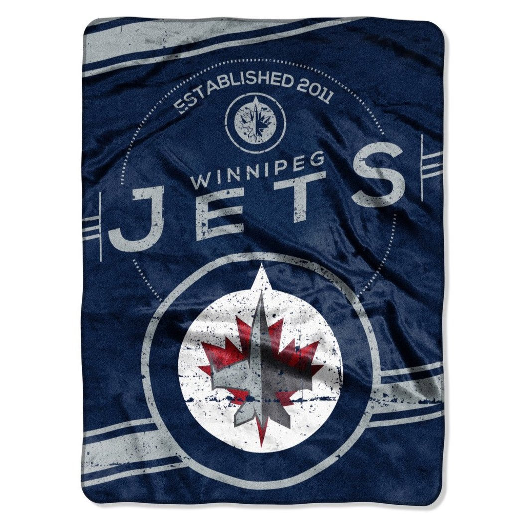 NHL Winnipeg Jets Throw Blanket 60x80 Polar Night Blue Aviator Blue Silver White Stamp Raschel Sports Hockey Stacked Colored Polyester Soft Touch Team - Diamond Home USA