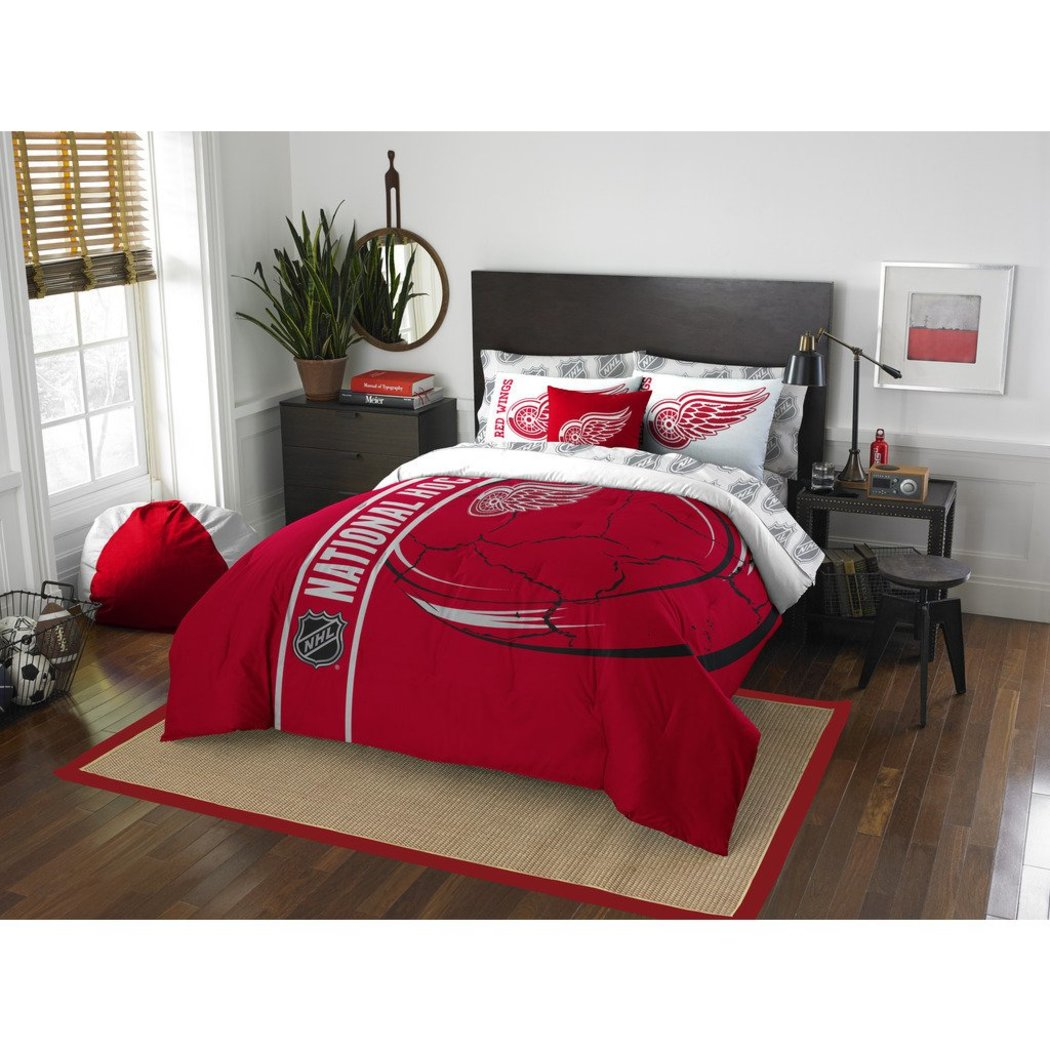 Full NHL Detroit Redwings Hockey Team Comforter Red & White Sports Pattern Bedding Team Logo Red Wings Merchandise Team Spirit Ice Hockey Themed - Diamond Home USA