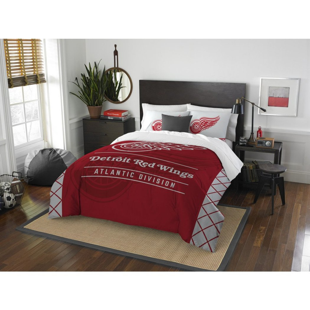 NHL Detroit Red Wings Comforter Full Queen Set Sports Patterned Bedding Team Logo Fan Merchandise Team Spirit Ice Hockey Themed National Hockey League - Diamond Home USA