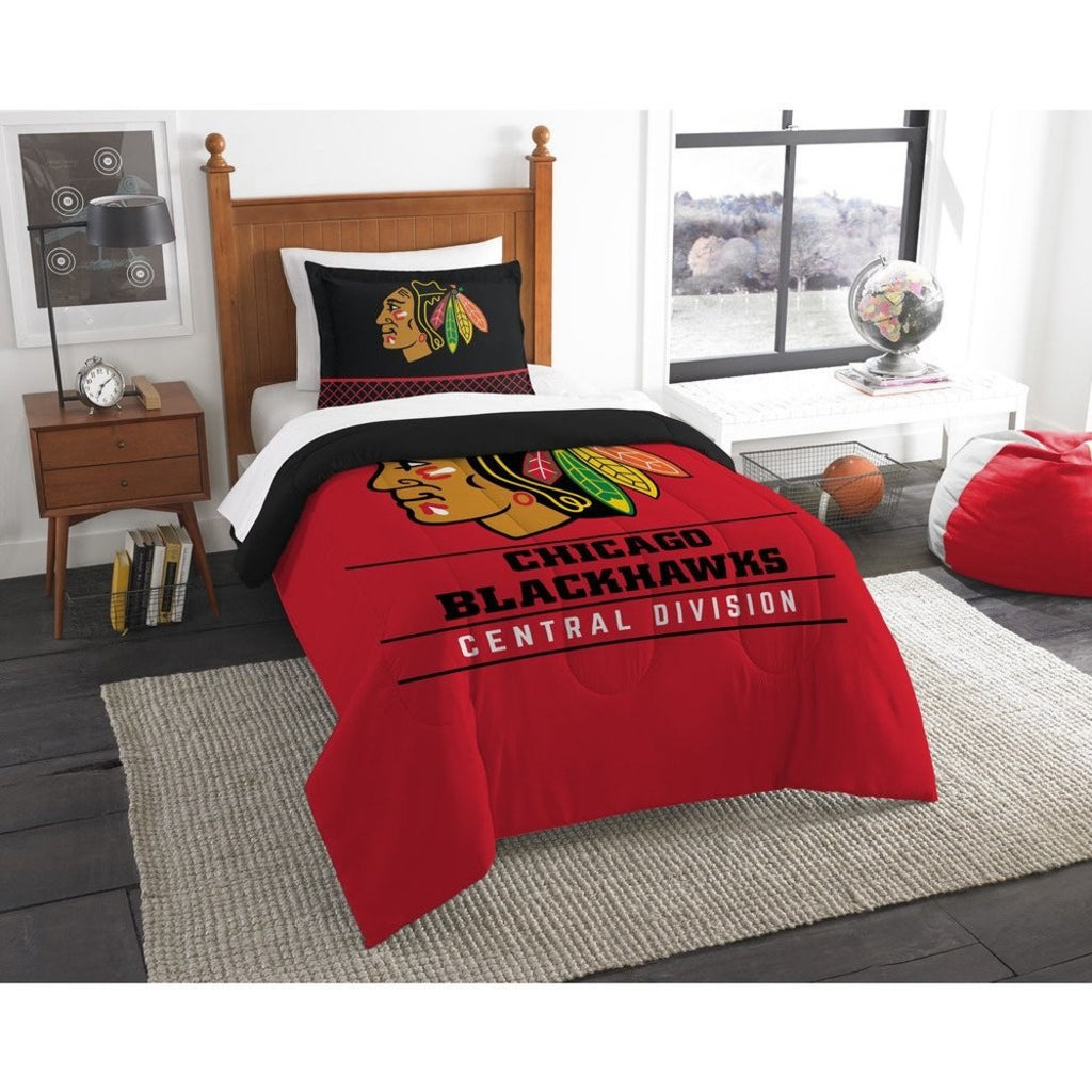 Hockey League Blackhawks Comforter Twin Set Sports Patterned Bedding Team Logo Fan Merchandise Athletic Team Spirit Red Black Gold White Polyester - Diamond Home USA