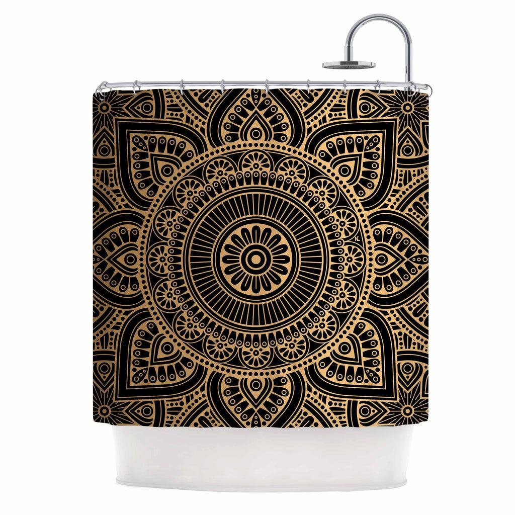 "N L Designs "" Black And Gold Mandala"" Black Tribal Arabesque Digital Vector Shower Curtain Polyester - Diamond Home USA"