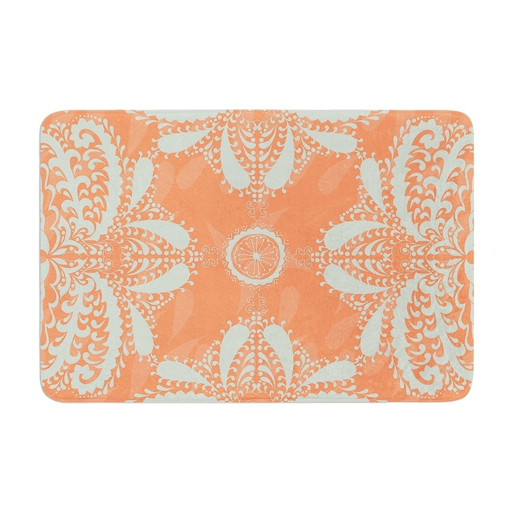 "Nandita Singh ""Motifs in Peach"" Memory Foam Bath Mat Orange Single Piece - Diamond Home USA"
