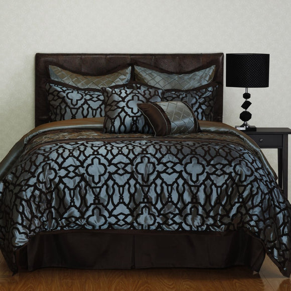 Luxurious Medallion Comforter Set Geometric Motif Pattern Modern Ironwork Design Flocked Taffeta Faux Silk Diamond