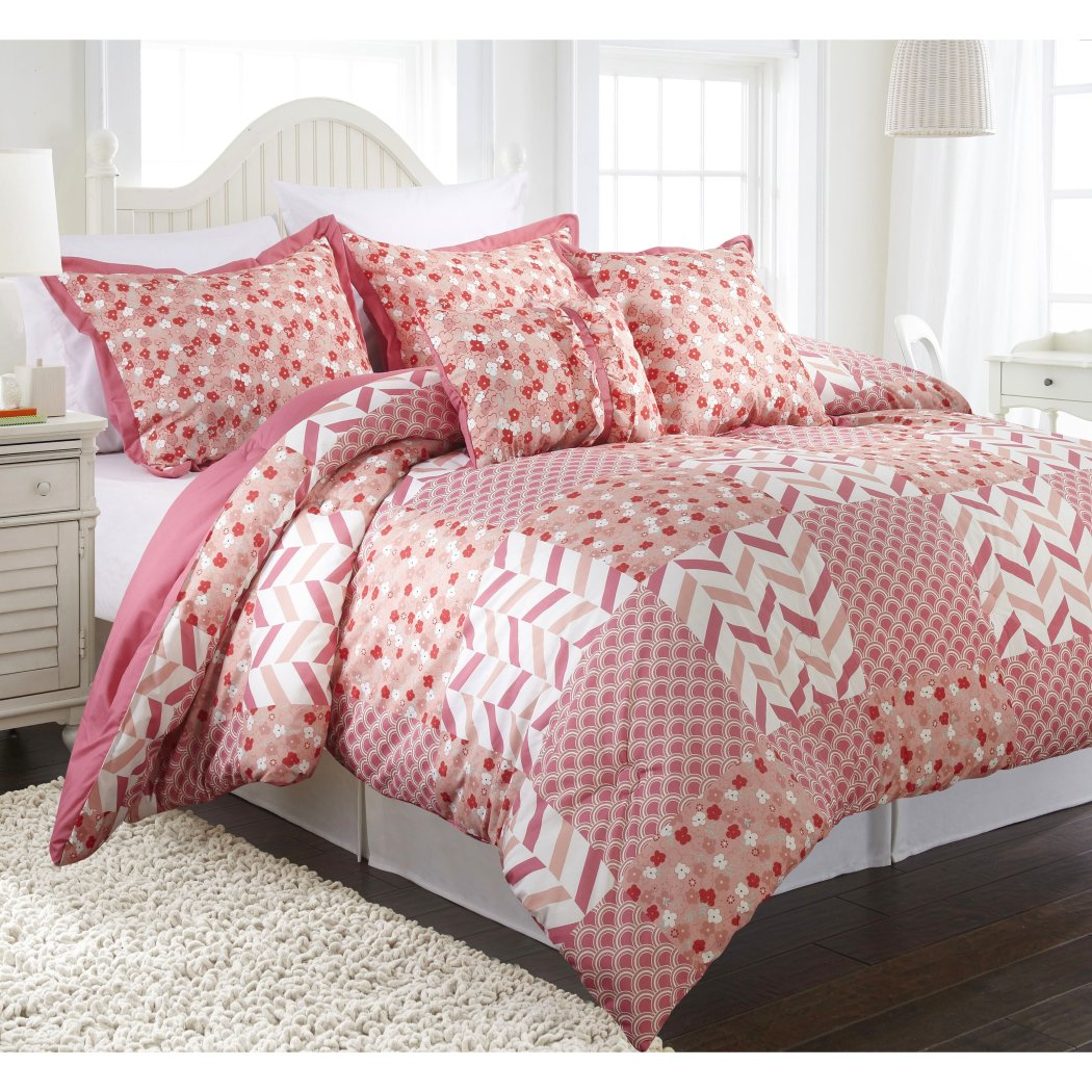 Girls Floral Patchwork Comforter Set Pretty Patch Scale Flowers Chevron Themed Chic Geometric Flower Diamond Bedding Stylish Pleat