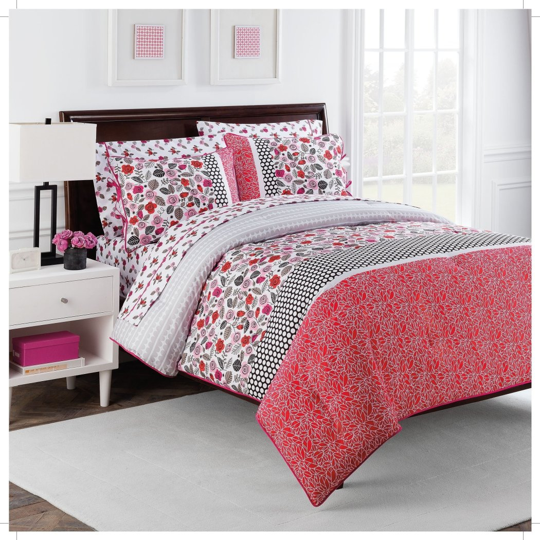 Flowers Theme Comforter Sheets Set Boho Chic Polka Dots Stripes Leaf Floral Design Bottom Fun Patterned Bedding White