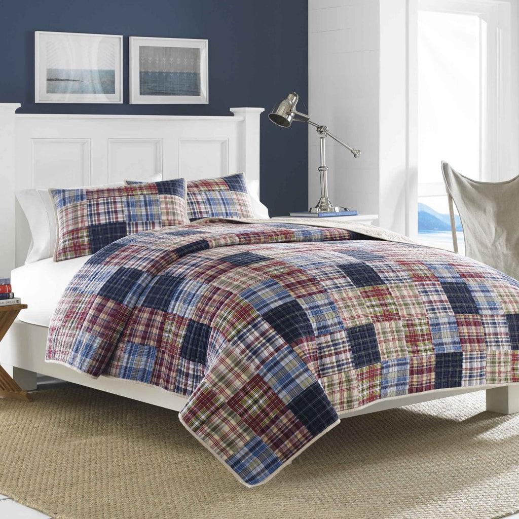 Patchwork Quilt Classic Country Sqaure Stripped Pattern Nautical Vintage Rugby Stripes Cottage Bedding Cotton