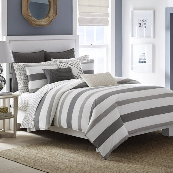 Cabana Stripes Pattern Comforter Set Classic Nautical Horizontal Lines Design Sports Stripe Inspired Bedding Bright Soft
