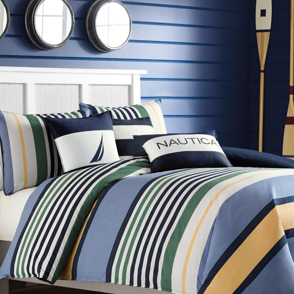 Rugby Stripes Comforter Set Horizontal Striped Bedding Nautical Themed Stripe Pattern Coastal Polyester Cotton