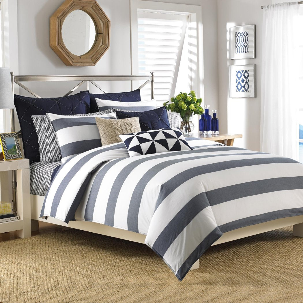 Bold Stripes Pattern Duvet Cover Set Horizontal Sporty Cabana Lines Design Classic Bedding Soft Extra Comfy