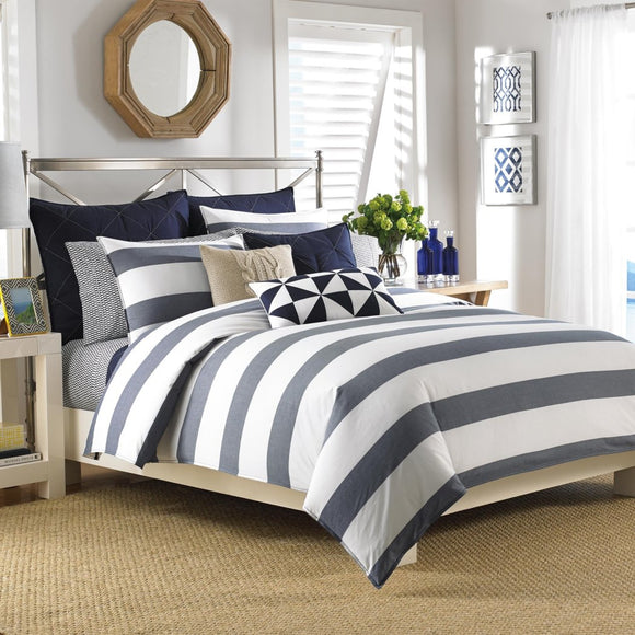 Bold Stripes Pattern Comforter Set Elegant Horizontal Sporty Cabana Lines Design Classic Bedding Soft Extra