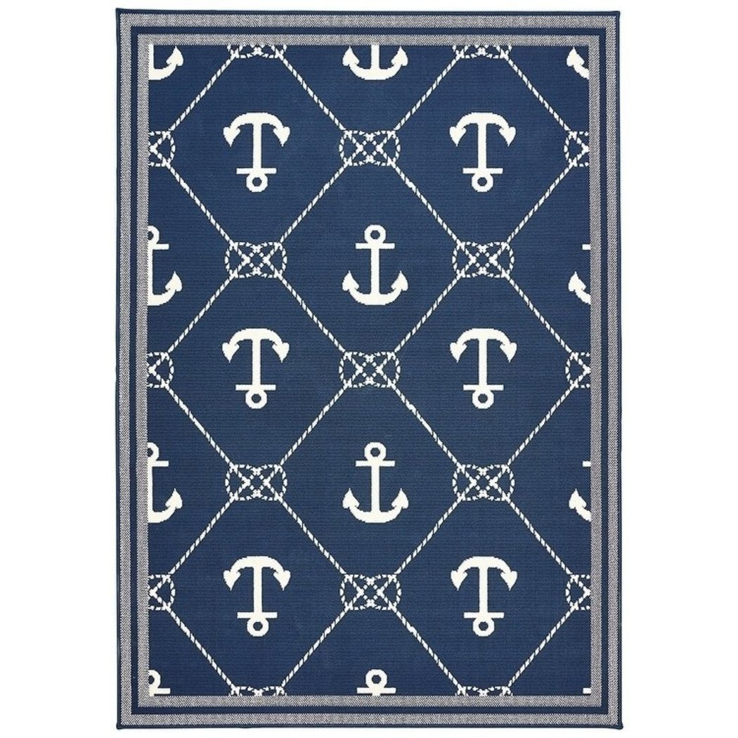 5'3x7'1 Blue White Nautical Anchors Area Rug Rectangle Shaped Outdoor Navy Ocean Boat Carpet Patio Coastal Lake House Cottage Ship Sailboat Sea - Diamond Home USA