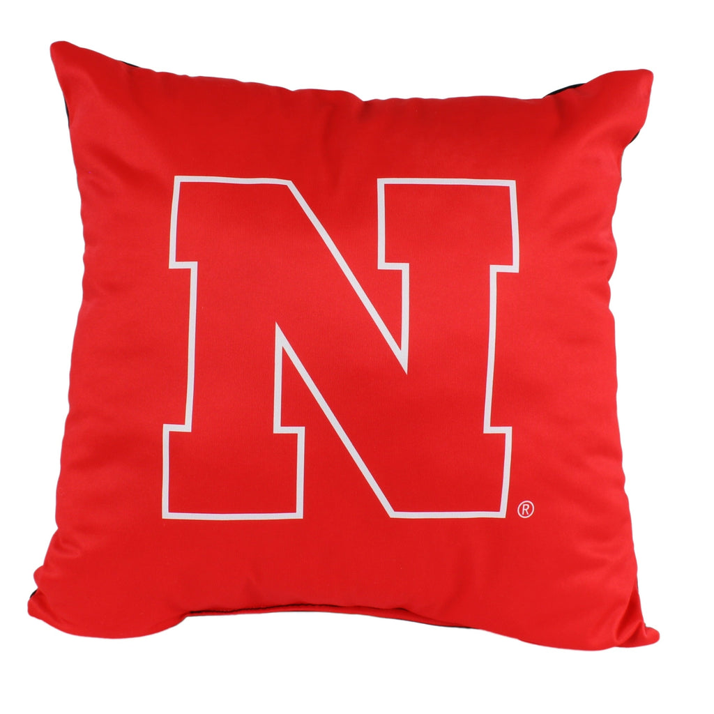 Nebraska Cornhuskers 16 Inch Decorative Throw Pillow Multi Color Sports Traditional Polyester One Single Reversible - Diamond Home USA