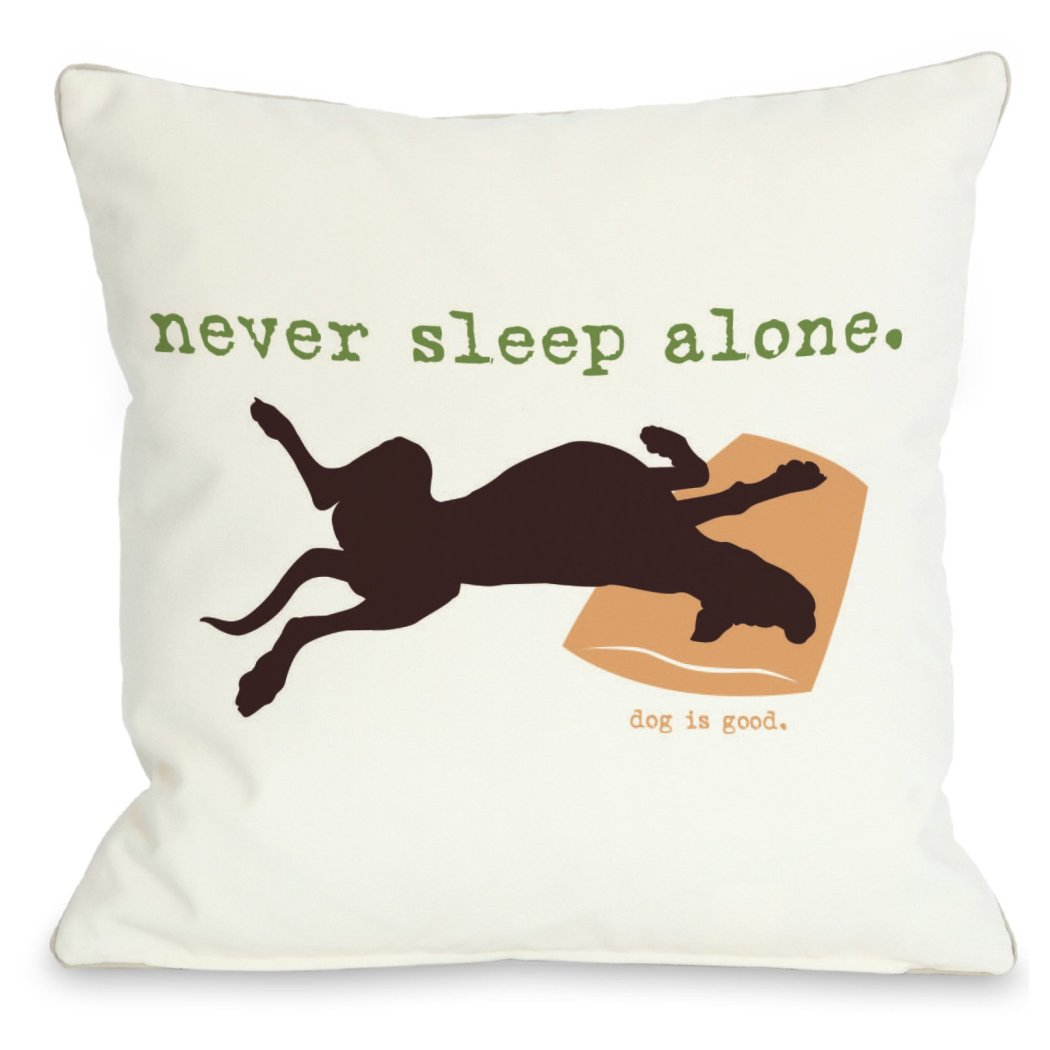 Whie Never Sleep Alone Throw Pillow Pet Animal Printed Sofa Pillow Adorable Dog Lover Theme Sofa Pillow Dog Cushions Dog Saying Square