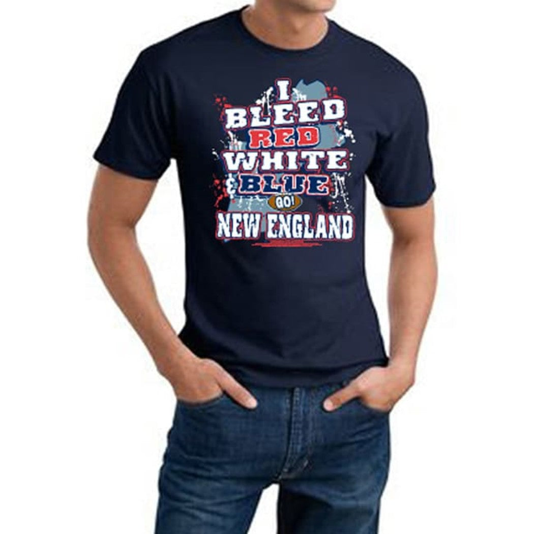 Mens NFL Patriots T Shirt Extra Large Double Football Sports Tee Football Themed Clothing I Bleed Slogan