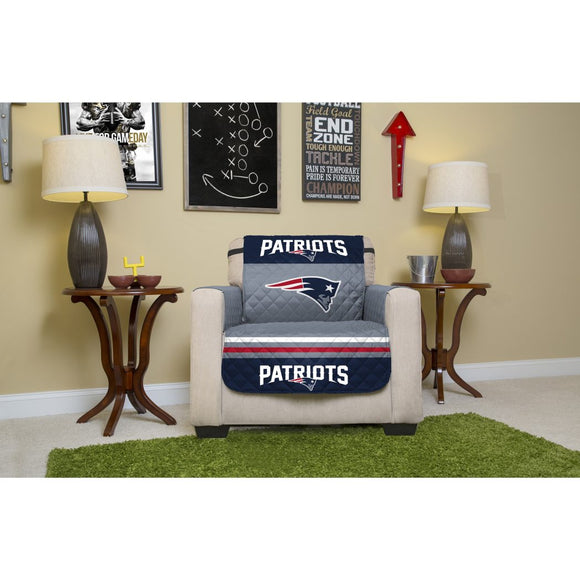 NFL Superbowl LI Champion New England Patriots Themed Armchair Slipcover Pats Super Bowl 51 Football Team Spirit Winner Chair Protector NE Patriot - Diamond Home USA