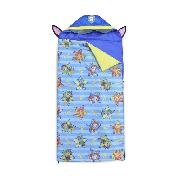 Blue Paw Patrol Nap Mat Kids Dogs Pattern Bedding Sleepover Bag Hooded Blue Yellow Heroe Puppies Cute Adorable Soft Floor Bed - Diamond Home USA