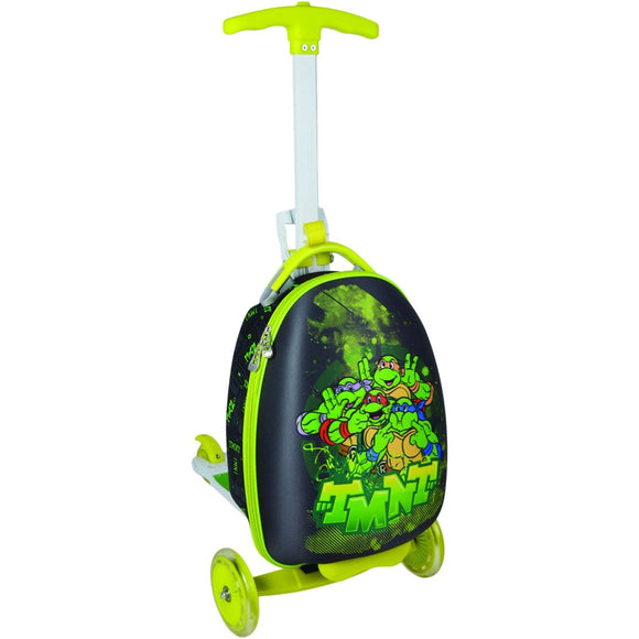 Bright Lime Green Rolling Briefcase Kids Scooter Suitcase TMNT Character Pattern Hardsided Lightweight Checkpoint Friendly Locking Kids' Upright - Diamond Home USA