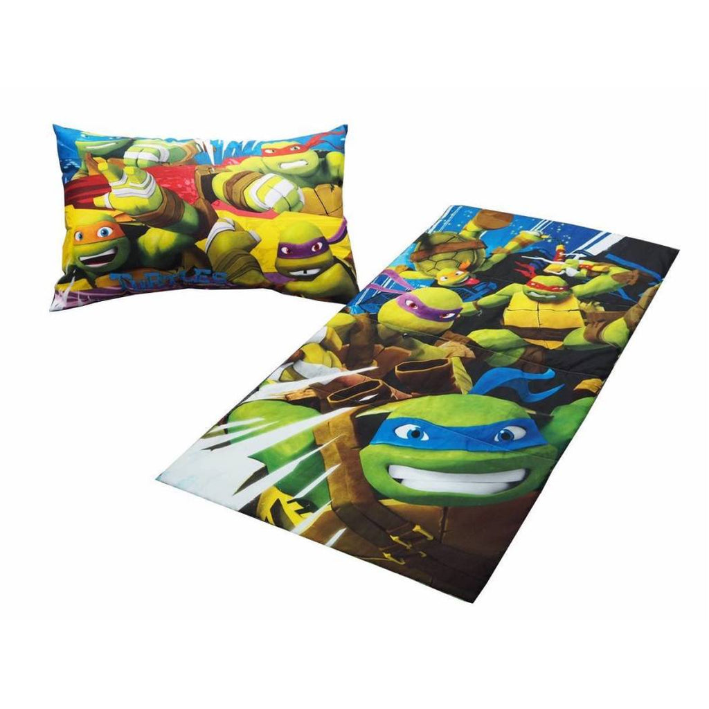 Kids Teenage Mutant Ninja Turtles Sleeping Bag Set Boys Girls Sleep Over Floor TMNT Bedding Sack Michaelangelo Leonardo Raphael Donatello Green Orange - Diamond Home USA
