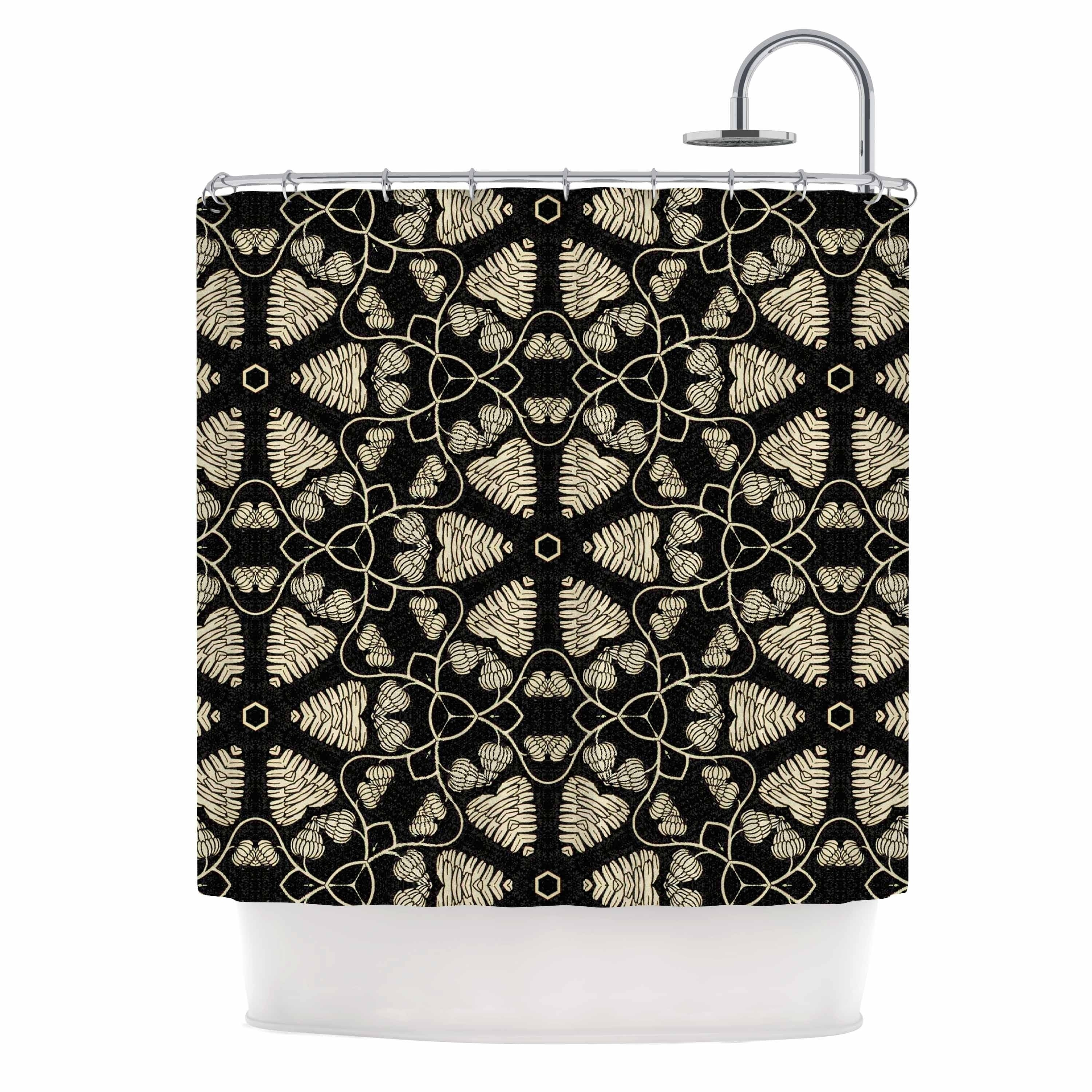 "Nika Martinez "" Abstract Fiber Floral"" Black Gold Abstract Geometric Digital Mixed Media Shower Curtain Brown Polyester - Diamond Home USA"
