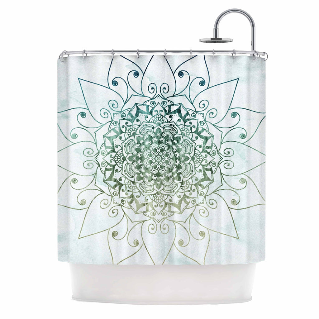 "Nika Martinez "" E L E G A N T M A N D A L A"" White Green Geometric Arabesque Illustration Mixed Media Shower Curtain Blue Polyester - Diamond Home USA"