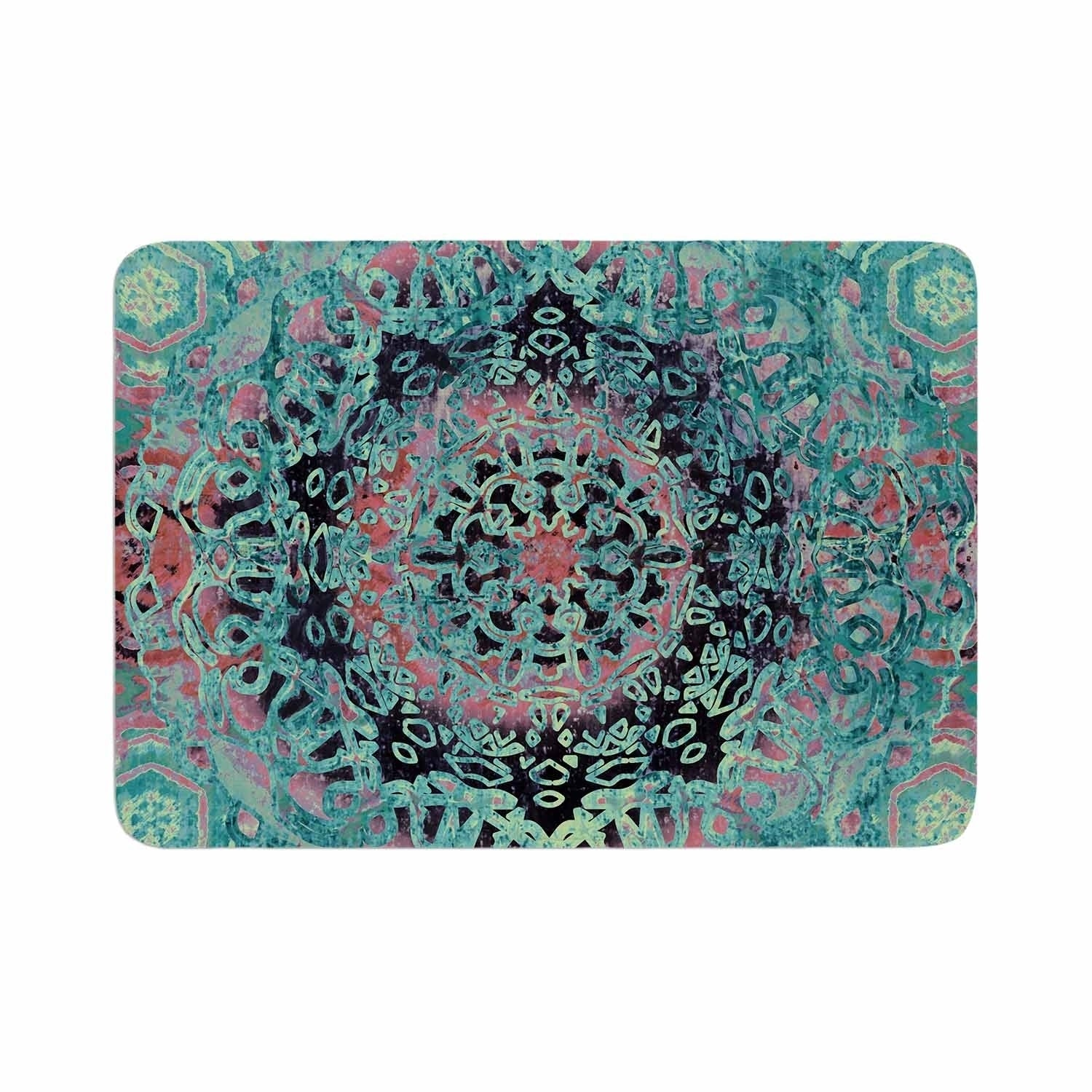 "Nina May ""Maiji Mandala Aqua"" Memory Foam Bath Mat Green Single Piece - Diamond Home USA"