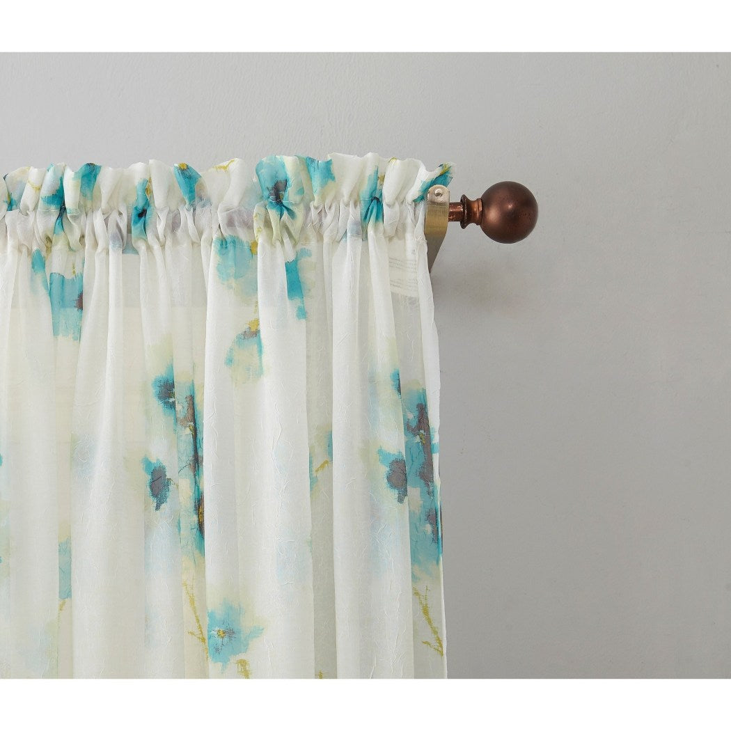 Girls Kiki Sheer Floral Window Curtain Single Panel Flowers Printed Hippy Bohemian Window Treatment Elegant