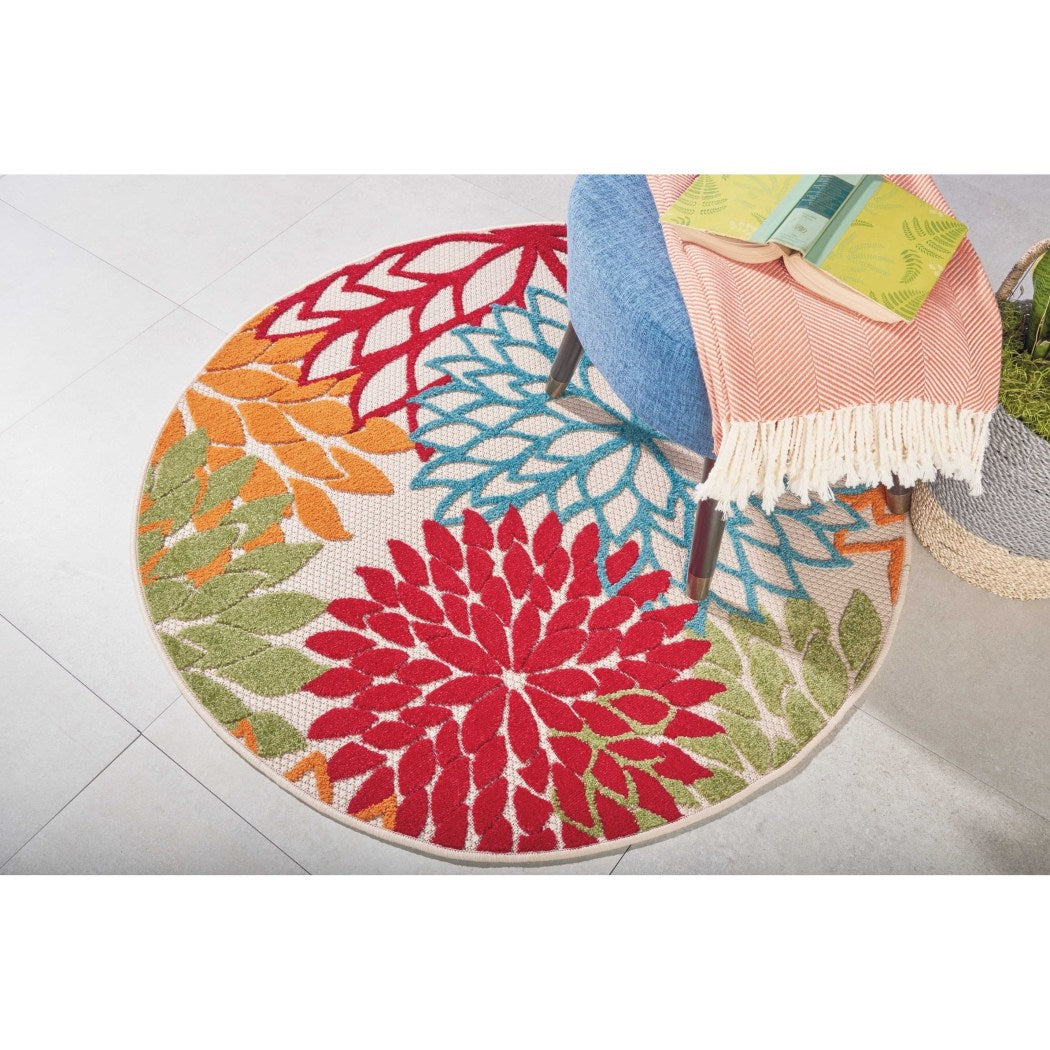 4' x 4' Red Green Orange Blue Beige Floral Aloha Area Rug Round Indoor/Outdoor Tropical Oasis Flower Petals Carpet Mat Nature Coastal Beach - Diamond Home USA