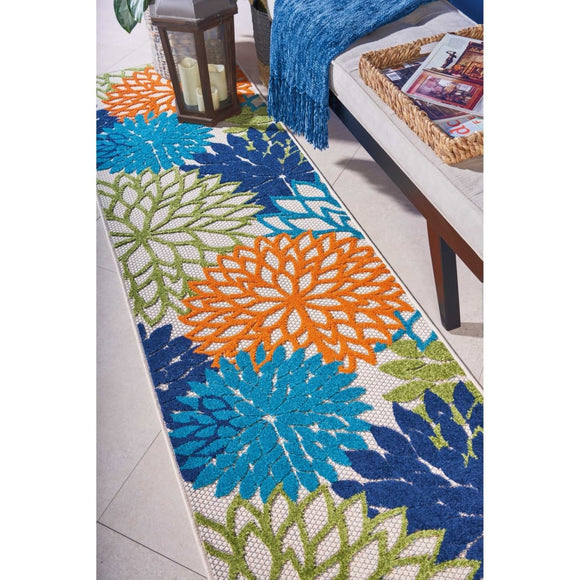 2'3 x 8' Orange Blue Beach Theme Runner Rug Indoor Outdoor Tropical Pattern Hallway Carpet Vibrant Colors Coastal Nautical Entryway Floral - Diamond Home USA