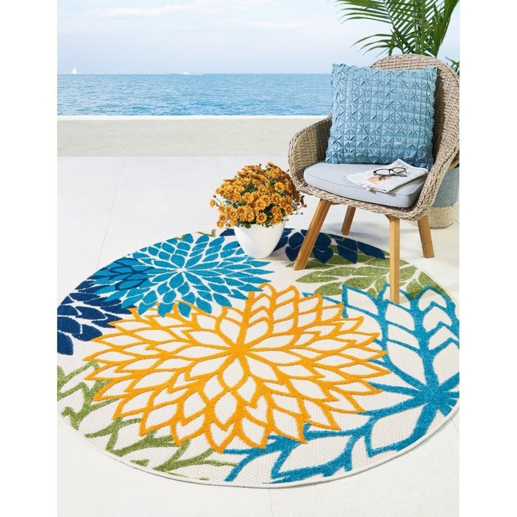 5 3 Blue Yellow Tropical Theme Round Rug Indoor Outdoor Green Navy